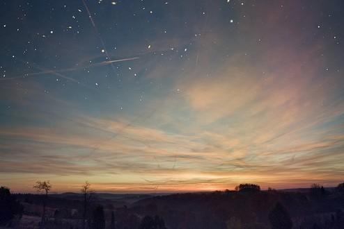 天空、夜、云、stars、你当我是浮夸吧